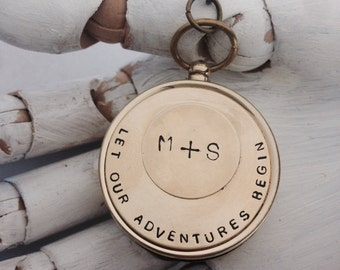 Groom wedding gift . Working compass key chain. For our adventures - wedding favors - boyfriend