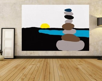 Zen schilderij etsy - Badkamer zen natuur ...