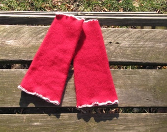 Red Cashmere Leg Warmers Deliciously Warm and Upcycled
