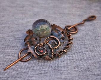 Dandelion brooch with handmade lampwork bead - Hairpin - Haifork - Scarf pin - Shawl pin - Nature jewelry