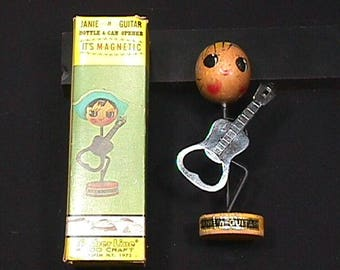 Vintage 1960's Janie The Guitar Player Bottle Opener in her Original Box she is missing her hat