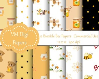Bee Digital Paper, Bumble Bee Paper, Honey Bee, Background Honey , Honey Digital Paper, Paper Bee Honey, Commercial Use, #3894