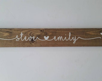 Heart connecting two names husband wife love valentine's gift-heart between names wood sign
