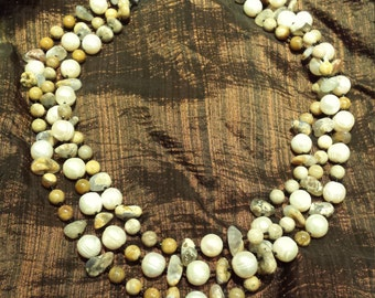 Three strand fossil coral, skin Blue Chalcedony and freshwater pearl necklace