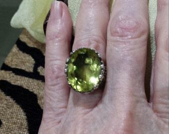 Sterling silver large faceted lemon quartz designer ring