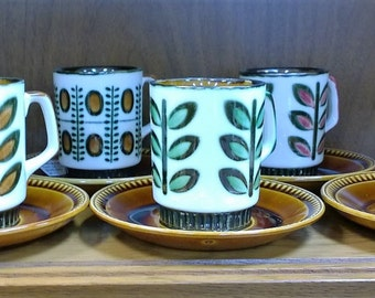 Amazing Condition BOCH Belgium Set of Six (6) Coffee Cups and Saucers