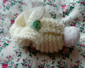 EASTER Handmade unique knitted keepsake hanging bunny. Perfect for new baby, christening and Easter.