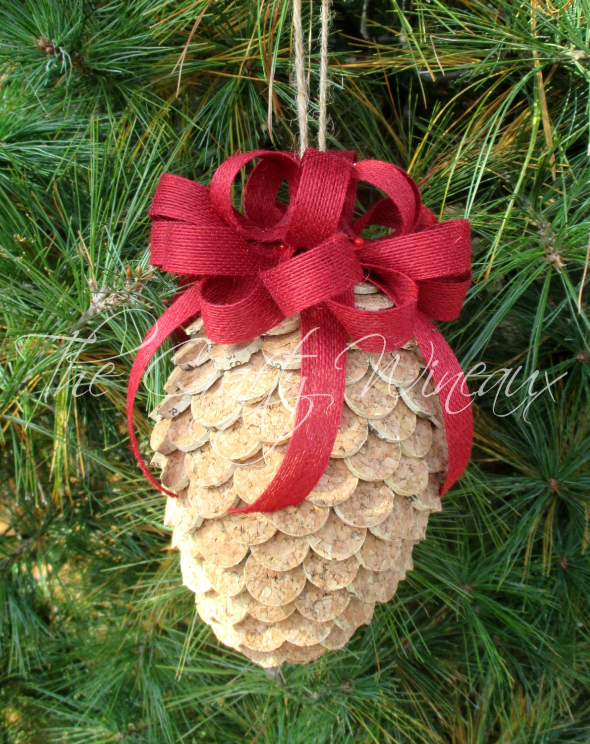 Large wine cork pine cone christmas ornament in poinsettia for Large christmas pine cones