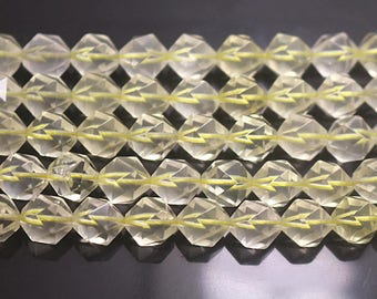 8 mm Faceted Lemon Quartz Beads, Natural Faceted Lemon Crystal Quartz Beads Full Strand