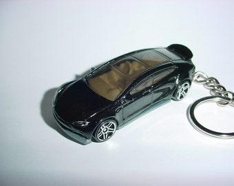 3D Tesla Model S custom keychain by Brian Thornton keyring key chain finished in black trim electric car awd models