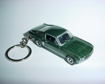 3D 1968 Ford Mustang GT BULLITT custom keychain by Brian Thornton keyring key chain finished in jade green color trim hood opens!