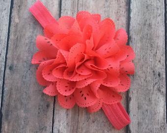 Coral Flower headband - coral headband - flower headband - baby girl headband - newborn headband - coral - flower - baby girl bow - Hair bow