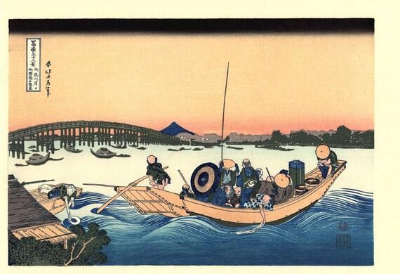 "Japanese Ukiyo-e Woodblock print, Katsushika Hokusai, ""Sunset across the Ryōgoku bridge from the bank of the Sumida River at Onmayagashi"""