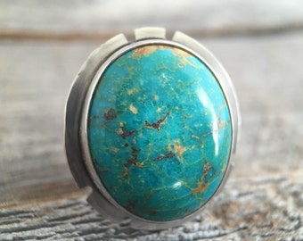 Turquoise Ring, Sterling Silver Handcrafted Turquoise Ring, Hammered Band