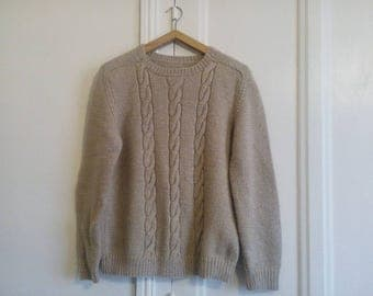Beige wool - handmade - vintage - Pullover - Sweater sweater cables