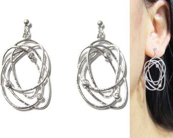 CZ Crystal Clip-On Earrings |21C| Textured Silver Clip on Dangle Earrings Galaxy Orbit Space Age Atom Science Modern Trendy Clip on earrings