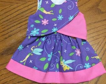 18 inch doll skirt criss cross crop top tinkerbell design