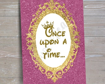 "Disney Princess ""Once Upon a Time"" Sign // INSTANT DOWNLOAD // Party Decor // Printable, Digital"