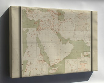 Canvas 24x36; Map Of Airports Of The Middle East 1943 In German