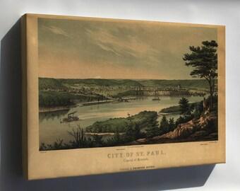 Canvas 24x36; Map Of City Of St. Paul, Minnesota 1853