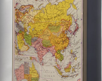 Canvas 16x24; Map Of Asia 1934