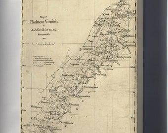 Canvas 16x24; Map Of Piedmont Virginia 1873