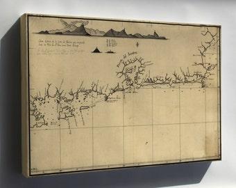 Canvas 16x24; Map Of Coast Of Rio De Janeiro Brazil 1780
