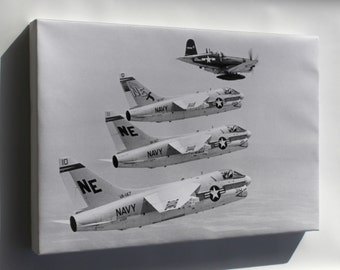 Canvas 16x24; Vought F4U-7 Corsair Leading Ltv A-7A Corsair Ii Fighters 1967