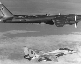 16x24 Poster; Soviet Tupolev Tu-95 Bear D Intercepted By F-14A Tomcat 1985