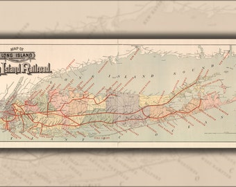 16x24 Poster; Map Of Long Island With Long Island Railroad 1895