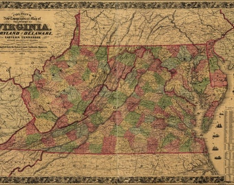 16x24 Poster; Topography Map Virginia Maryland Delaware 1864 P2