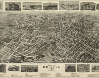 16x24 Poster; Aero View Map Of Bristol, Virginia & Tennessee 1912