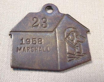 Dog Collar ID dated 1958 Dog in Dog House
