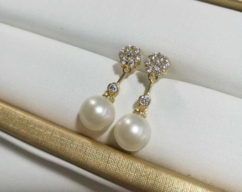 freshwater pearl earrings, pearl drop earrings, wedding pearl earrings, pearl earrings bridesmaid, bridal earrings pearl rhinestone