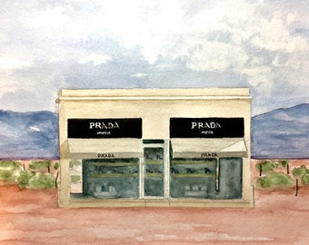 Prada Marfa, original watercolor, 8x10 inches, Prada Store in Marfa, Texas