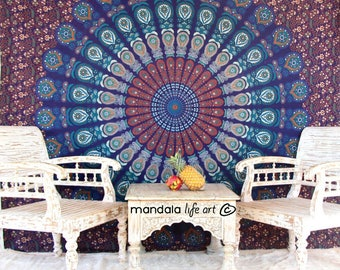 Boho Tapestry Wall Hanging, Mandala Wall Throw, Fabric Wall Tapestry Room Decor, Gypsy Tapestry