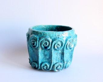 Vase artistic, ceramic aquamarine, Contemporary style Home decor