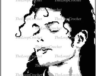 Michael Jackson Face Graphghan/Throw Pattern