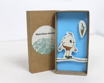 Matchbox card, Matchbox art, Greeting card, Personalized message, Handwritten, 3D effect, Icecream drawing, Slidebox