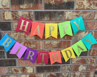 Rainbow Happy Birthday Banner, Custom birthday banner, 1st Birthday Party Decor, Kids Photo Prop, Personalized Banner