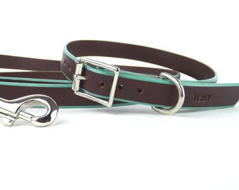 """Brown leather 3/4"""" Dog Collar and Leash set with Nickel hardware"""