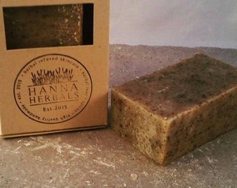 Comfrey and Nettle Facial Herbal Soap - dried herbs soap - 4 ounce soap - organic soap - all natural soap