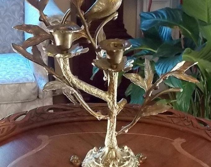 Vintage Brass Bird Candleholder
