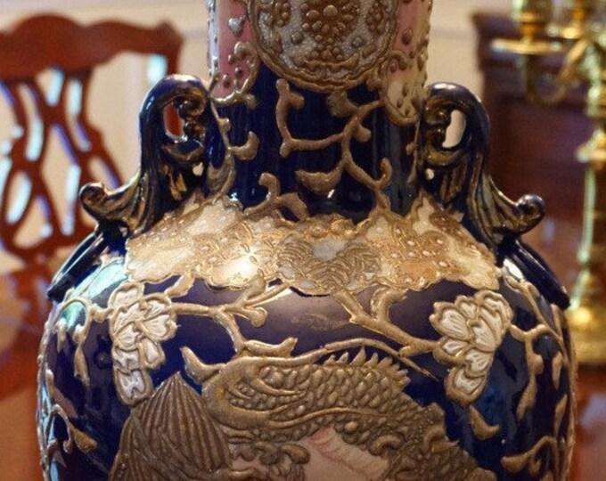 Large Moriage Satsuma Vase
