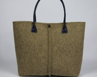 FREE SHIPPING,beige felt bag. Tote bag, Felt bag, Felted tote bag, bag for women, leather and felt bag,