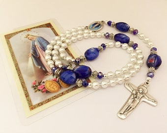 Blue Rosary. Miraculous Medal Rosary. White Rosary. Catholic Rosary. Catholic Gift. Holy Rosary. Catholic Mother's Gift. #2R120