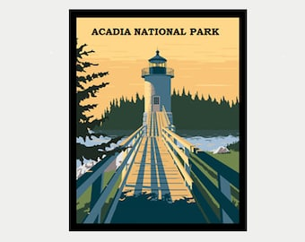 Acadia National Park Decal - Lighthouse Sticker - Vintage Style Maine Decal - Maine RV Decal - Maine Laptop Decal - Maine Car Decal - S400