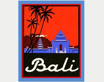 Bali Decal - Bali Sticker - Bali Car Decal - Vintage Style Decal - Bali Laptop Decal - Bali Souvenir - Bali Holiday Sticker- S216