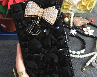 New Luxury Black Crystals Slot Cards Holder Wallet Leather Gold D Bow Lovely Bling Rhinestones Diamonds Gem Hard Cover Case for Mobile Phone