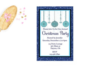 Printable Christmas Holiday Party Invitations, Christmas Invites, Holiday Printable, Digital Invitation